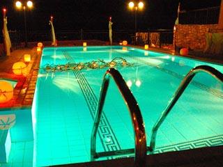 Vergis Epavlis Luxurious Suites - Swimming Pool at Night