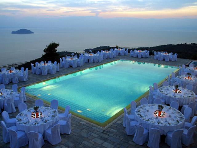 Porto Carras - Villa Galini - Restaurant And Pool Area